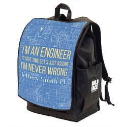 Engineer Quotes Backpack w/ Front Flap  (Personalized)