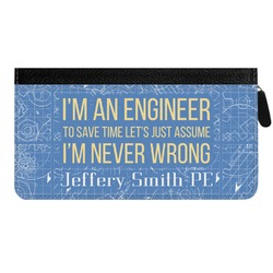 Engineer Quotes Genuine Leather Ladies Zippered Wallet (Personalized)