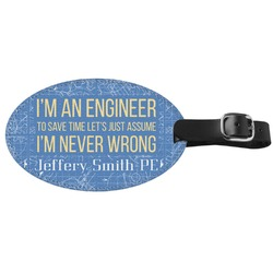 Engineer Quotes Genuine Leather Oval Luggage Tag (Personalized)