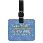 Engineer Quotes Genuine Leather Rectangular  Luggage Tag (Personalized)
