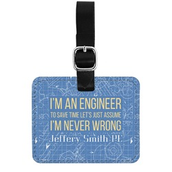 Engineer Quotes Genuine Leather Luggage Tag w/ Name or Text