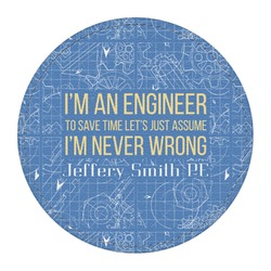 Engineer Quotes Round Desk Weight - Genuine Leather  (Personalized)