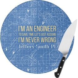 Engineer Quotes Round Glass Cutting Board (Personalized)