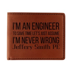 Engineer Quotes Leatherette Bifold Wallet (Personalized)