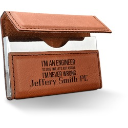 Engineer Quotes Leatherette Business Card Holder (Personalized)