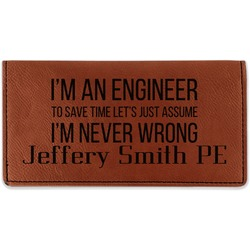 Engineer Quotes Leatherette Checkbook Holder (Personalized)