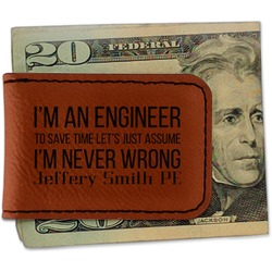 Engineer Quotes Leatherette Magnetic Money Clip (Personalized)