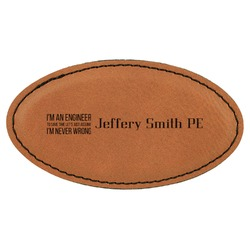 Engineer Quotes Leatherette Oval Name Badge with Magnet (Personalized)