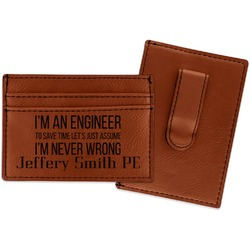 Engineer Quotes Leatherette Wallet with Money Clip (Personalized)