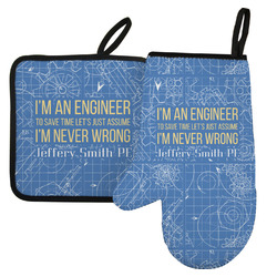 Engineer Quotes Left Oven Mitt & Pot Holder Set w/ Name or Text