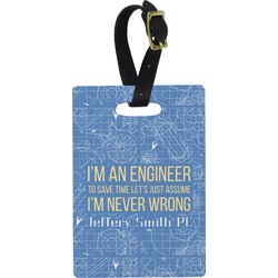 Engineer Quotes Plastic Luggage Tag - Rectangular w/ Name or Text