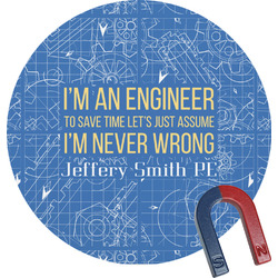 Engineer Quotes Round Fridge Magnet (Personalized)
