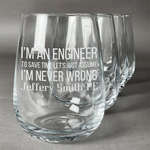 Engineer Quotes Stemless Wine Glasses (Set of 4) (Personalized)