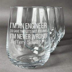 Engineer Quotes Wine Glasses (Stemless Set of 4) (Personalized)