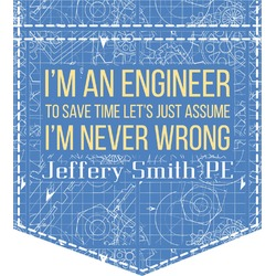 Engineer Quotes Iron On Faux Pocket (Personalized)