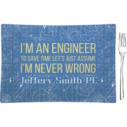 Engineer Quotes Glass Rectangular Appetizer / Dessert Plate (Personalized)