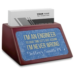 Engineer Quotes Red Mahogany Business Card Holder (Personalized)
