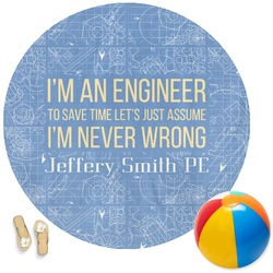 Engineer Quotes Round Beach Towel (Personalized)