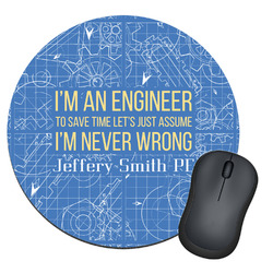 Engineer Quotes Round Mouse Pad (Personalized)