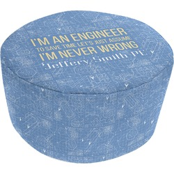 Engineer Quotes Round Pouf Ottoman (Personalized)