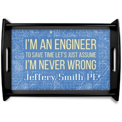 Engineer Quotes Black Wooden Tray (Personalized)