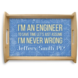 Engineer Quotes Natural Wooden Tray - Small (Personalized)