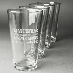Engineer Quotes Beer Glasses (Set of 4) (Personalized)