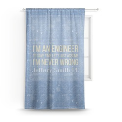 """Engineer Quotes Sheer Curtains - 60""""x60"""" (Personalized)"""