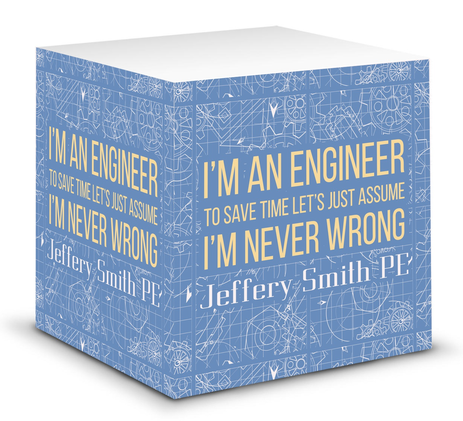 Quotes On Sticky Notes: Engineer Quotes Sticky Note Cube (Personalized