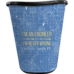 Engineer Quotes Waste Basket - Double Sided (Black) (Personalized)