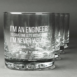 Engineer Quotes Whiskey Glasses (Set of 4) (Personalized)