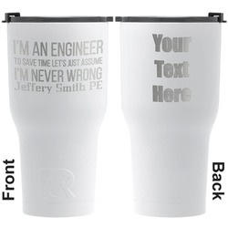 Engineer Quotes RTIC Tumbler - White - Engraved Front & Back (Personalized)