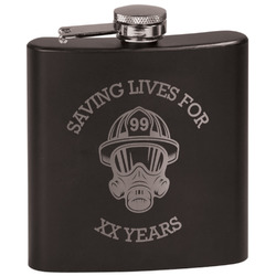 Firefighter Black Flask (Personalized)