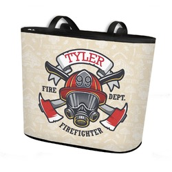 Firefighter Bucket Tote w/ Genuine Leather Trim (Personalized)
