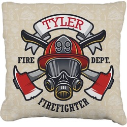 Firefighter Faux-Linen Throw Pillow (Personalized)