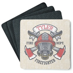 Firefighter 4 Square Coasters - Rubber Backed (Personalized)