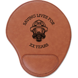 Firefighter Leatherette Mouse Pad with Wrist Support (Personalized)
