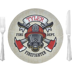 "Firefighter 10"" Glass Lunch / Dinner Plates - Single or Set (Personalized)"