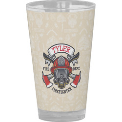Firefighter Drinking / Pint Glass (Personalized)