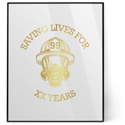 Firefighter 8x10 Foil Wall Art - White (Personalized)