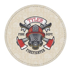 Firefighter Round Desk Weight - Genuine Leather  (Personalized)