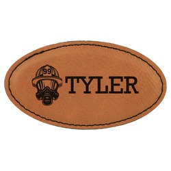Firefighter Leatherette Oval Name Badge with Magnet (Personalized)