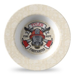 Firefighter Plastic Bowl - Microwave Safe - Composite Polymer (Personalized)