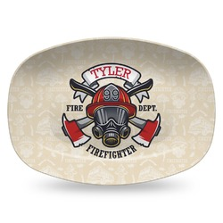 Firefighter Plastic Platter - Microwave & Oven Safe Composite Polymer (Personalized)