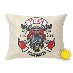 Firefighter Outdoor Throw Pillow (Rectangular) (Personalized)