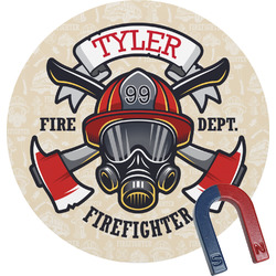 Firefighter Round Fridge Magnet (Personalized)