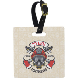 Firefighter Square Luggage Tag (Personalized)