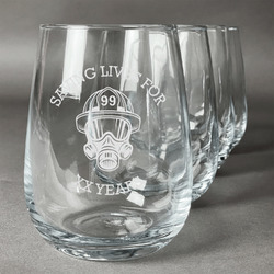 Firefighter Stemless Wine Glasses (Set of 4) (Personalized)