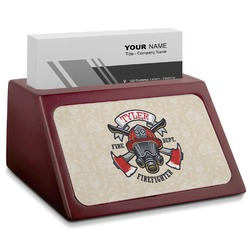 Firefighter Red Mahogany Business Card Holder (Personalized)