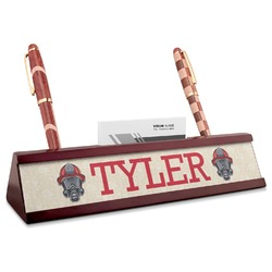 Firefighter Red Mahogany Nameplate with Business Card Holder (Personalized)